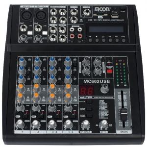 Mixer de 6 Canales con Usb Inc. Fuente Moon MC602USB
